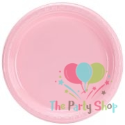 "Heavy Duty 7"" Inch Plastic Plate Pink Disposable Round Party Plates (Pack of 25)"