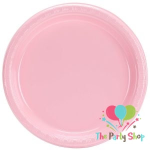 Heavy Duty 7″ Inch Plastic Plate Pink Disposable Round Party Plates (Pack of 25)
