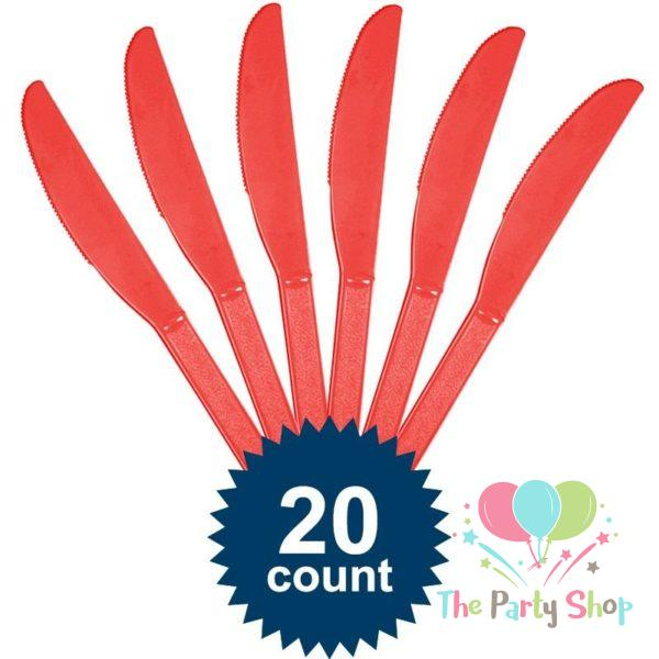 Red Disposable Plastic Knives (20 Pack) Knife Tableware Cutlery Birthday Party Supplies, BBQs, Picnics and Events