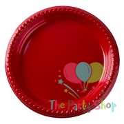 "Heavy Duty 7"" Inch Plastic Plate Red Party Plates (Pack of 25)"