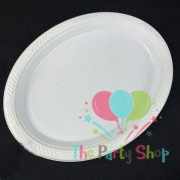 Plastic Oval Food Sandwich Platter White Trays Plates 10 Pack