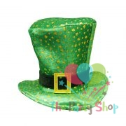 Fancy Dress St Patricks Irish Ireland Eire Top Hat Green with Gold Shamrocks
