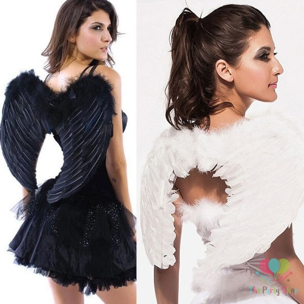 Adult Black White Feather Fairy Angel Wings Fancy Cosplay Costume