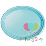 Plastic Oval Food Sandwich Platter Light Blue Trays Plates 10 Pack