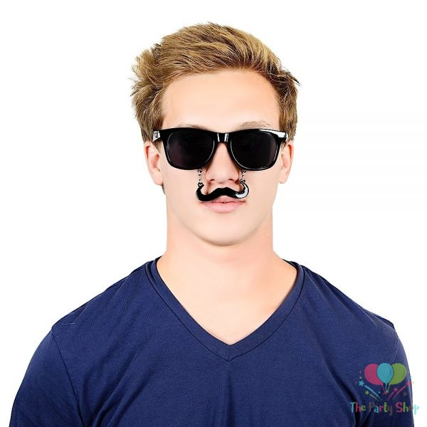 Costume Sunglasses Black Handlebar Sun-Staches Party Favors Fake Mustache