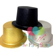 Adult Party Black Silver Gold Glittering Glitter Top Hat Unisex Costume Accessory