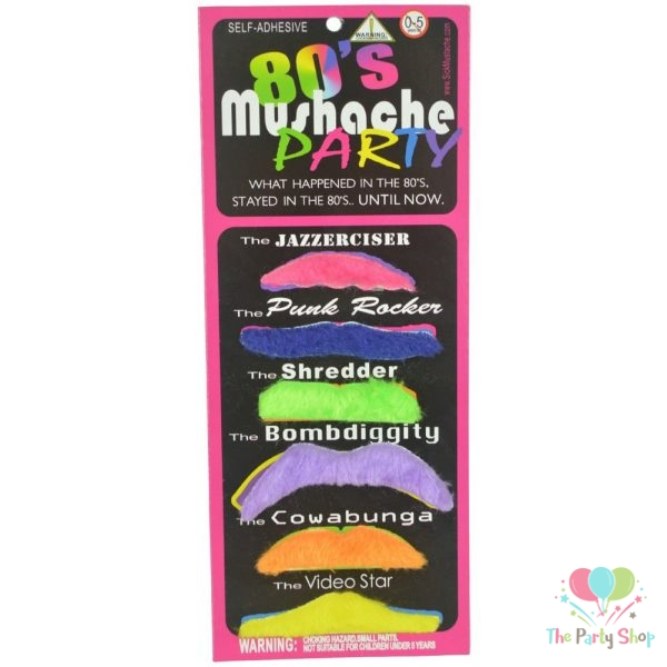 80'S Party Fake Mustache Colorful Beard 6 Styles Set for 80's Costume Party Halloween Carnival Decoration Party Favours