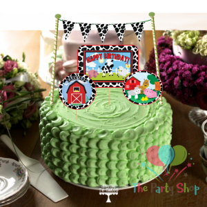 Cake Bunting Farm Animal 4 Per Pkt