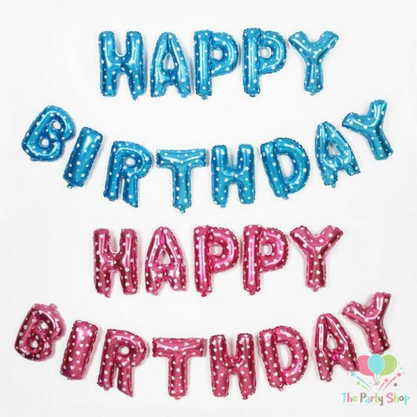 Happy Birthday Foil Balloons Banner All Letters