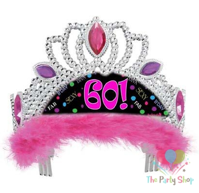 Tiara Traffic Stop Sign Birthday Tiara with Red Feathers Various Ages