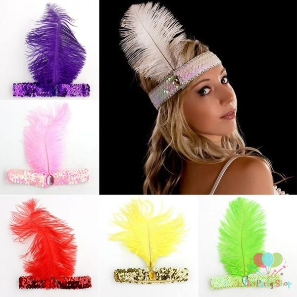 Women Head Band Beaded Sequin Flapper Feather Headband Headpiece Party Costume Headband Hair Accessories