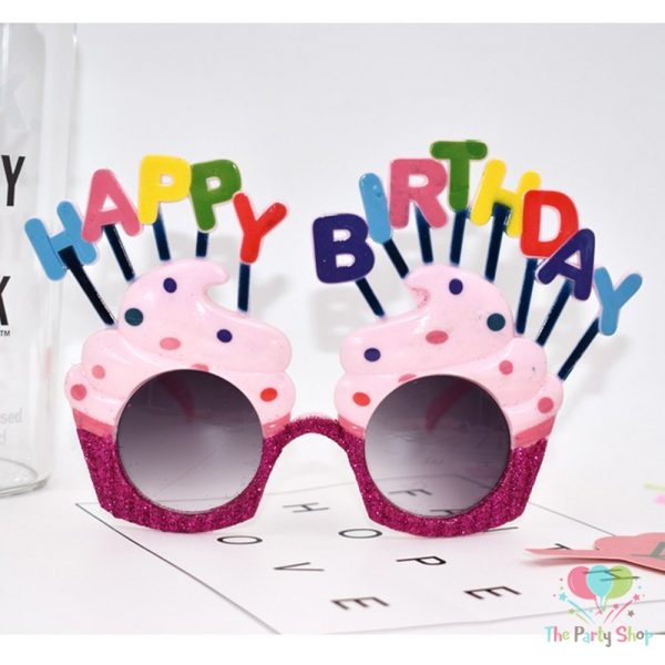 Sunglasses Happy Birthday Cupcake Candles Fancy Dress Novelty Theme Adult Kids