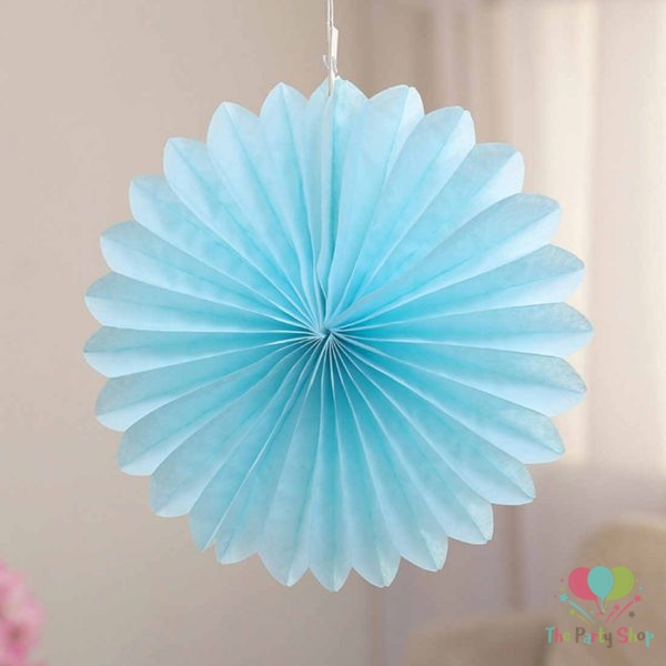 Blue Tissue Paper Fan Flower Hanging Decorative Paper Flowers Decorations Pack of 5 -15cm