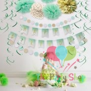 12PCS Green Ceiling Swirl Decorations Hanging Ornaments Party Favors For Kids Birthday Decorations Baby Shower Supplies