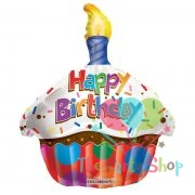 "18"" Happy Birthday Cupcake Candle Shape Foil Mylar Sprinkle Balloon Party Happy Birthday"