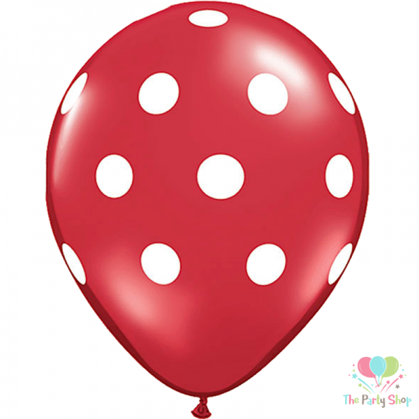 """11"""" Polka Dot Red Latex Balloons Birthday Party Balloons Wedding Valentines Christmas Decoration (25 Piece)"""