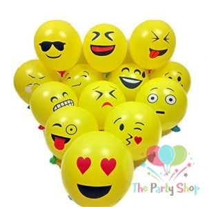 12″ Yellow Latex Emoji Smiley Face Emoticon Balloons (10 Piece)