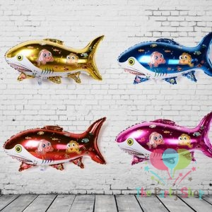 Giant Shark Shaped Foil Balloons Fish Shaped Aqua Theme Party Decoration Toy for Children Birthday Party