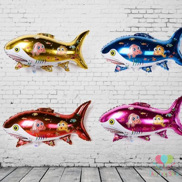 Shark Shaped Foil Balloons Fish Shaped Aqua Theme Party Decoration Toy for Children Birthday Party