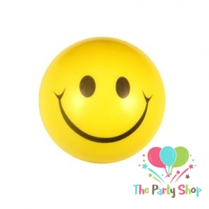 Smiley Happy Funny Face Bouncy Squeeze Anti Stress Soft Balls Fun Kids Toys 3 Inch Yellow Christmas Stocking Party Favor Goodie Bag Gifts (Pack of 6)