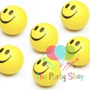 Smiley Happy Funny Face Bouncy Squeeze Anti Stress Soft Balls Fun Kids Toys 3 Inch Yellow Christmas Stocking Party Favour Goodie Bag Items (Pack of 6)