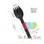 Dessert Cake Spork Spoon Black 20 Pcs Pkt