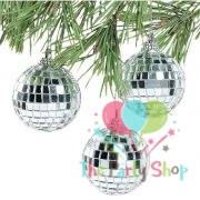 Christmas Disco Ball.Silver Mirror Ball Christmas Tree Decorations Ornament Disco Balls Mirror On String Set Of 6
