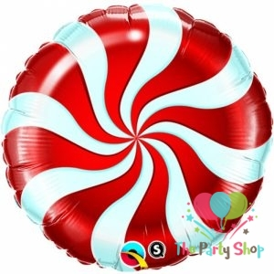 18 Inch Red Candy Swirl Windmill Point Foil Balloons Round Lollipop Aluminum Balls Wedding Happy Birthday Baby Kids Party Decoration