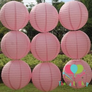 10 Inch Light Pink Paper Lanterns Chinese/Japanese Paper Hanging Decorations Ball Lanterns Lamps for Home Decor, Festival and Weddings