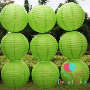 Lanterns 10 Inch Green Paper Chinese/Japanese Paper Hanging Decorations Ball Lanterns Lamps for Home Decor, Festival and Weddings