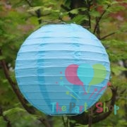 Blue Paper Lanterns 10 Inch Chinese/Japanese Paper Hanging Decorations Ball Lanterns Lamps for Home Decor, Festival and Weddings