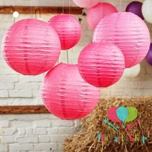 10 Inch Dark Pink Paper Lanterns Chinese/Japanese Paper Hanging Decorations Ball Lanterns Lamps for Home Decor, Festival and Weddings