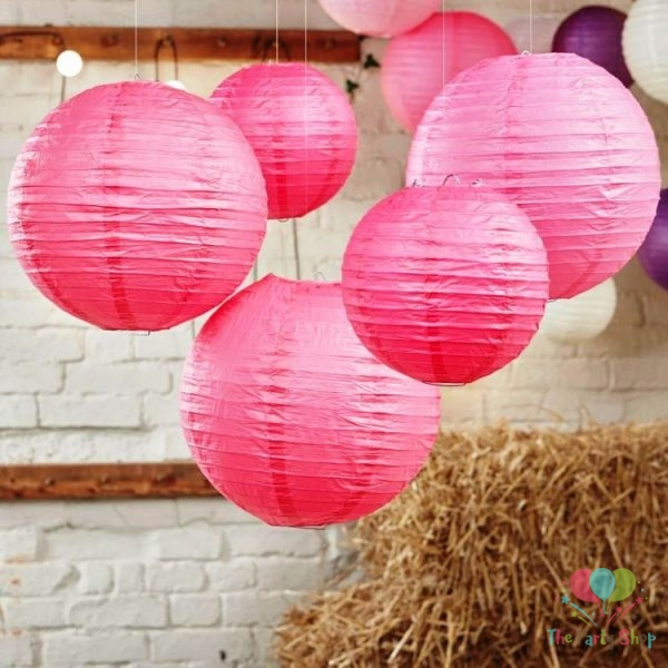 10 Inch Dark Pink Paper Lanterns Chinese/Japanese Paper Hanging Decorations Ball Lanterns Lamps for Home Decor, Festival and Weddings (Copy)