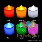 LED Tea Light Candles Light Lamp Realistic Battery Powered Flameless 6 Colors Flicker Candles Wedding Love Valentines Birthday Decorations