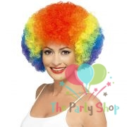 Rainbow Cricket Wig Multi Coloured Colorful Artificial Fake Curly Hair Afro Wig Malinga's Hair Halloween World Cup Festival World Cup Cheerleaders Football Cricket Fan Wig