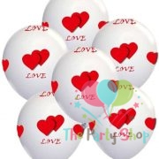"10"" Love and Heart Printed Latex Balloons for Valentines Day Wedding Anniversary Birthday Decorations Assorted Color (10 Piece)"