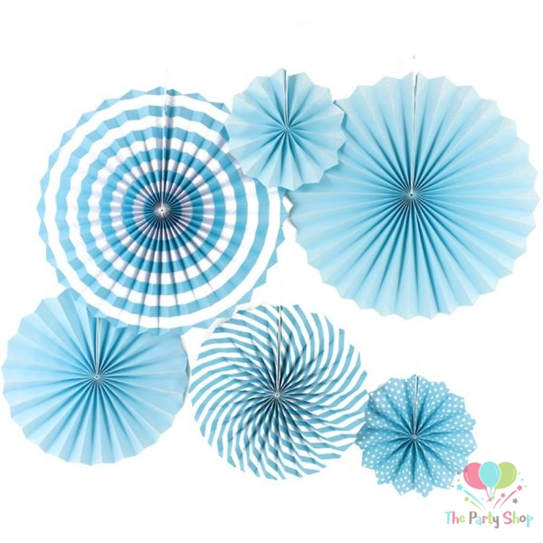 Paper Fans Blue 6pcs Round Hanging Paper Fan Decorations for Wedding Birthday Fiesta Party Supplies Tissue Pom Poms Decor Vintage Paper Flowers