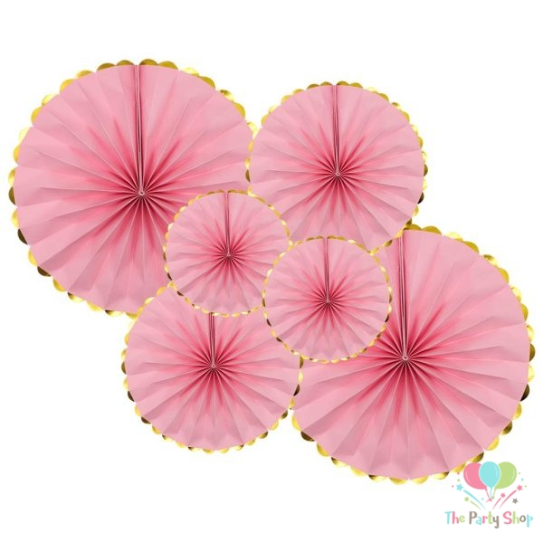 Pink Paper Fan Decorations 6pcs Round Party Hanging Fan Flower Set Garlands Birthday Wedding Baby Shower Girls Night Party Decorations