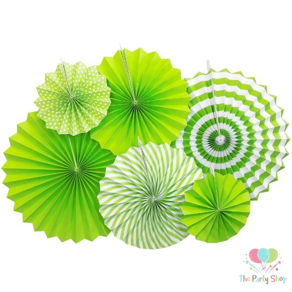 Green Paper Fan Decorations 6pcs Round Party Hanging Fan Flower Set Garlands Birthday Wedding Baby Shower Party Decorations