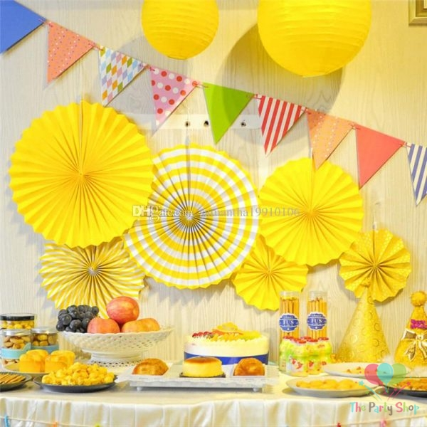 Yellow Round Paper Fans Hanging Decorations 6pcs Paper Fan Flowers Wedding  Baby Shower Birthday Party Tissue Paper Table Backdrop Decoration