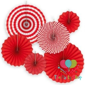 DIY 6pcs Red Set Hanging Paper Fans For Chinese New Year Party Decoration PINWHEEL Anniversary Kids Event Decor Paper Crafts Valentine's Day Decorations