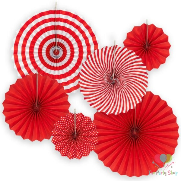 DIY 6pcs Red Set Hanging Paper Fans For Chinese New Year Party Decoration Anniversary Kids Event Decor Paper Crafts Valentine's Day Decorations
