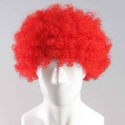 Red Afro Wig for Women & Men Curly Hair Wigs Cricket World Cup 2019 England Cricket Supporters Fan Malinga Wigs Artificial Hair
