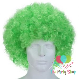Green Afro Wig for Women & Men Curly Hair Wigs Cricket World Cup 2019 Bangladesh Cricket Supporters Fan Malinga Wigs Artificial Hair