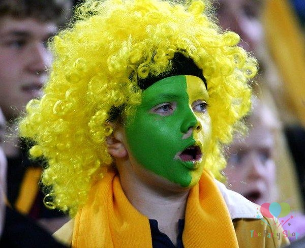 Yellow Afro Wig for Women & Men Curly Hair Wigs Cricket World Cup 2019 Australia Cricket Supporters Fan Malinga Wigs Artificial Hair