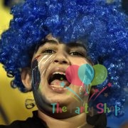 Blue Afro Wig for Women & Men Curly Hair Wigs Cricket World Cup 2019 India Cricket Supporters Fan Malinga Wigs Artificial Hair