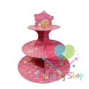 3-tier Cupcake Stand Baby Shower Pink Birthday Party Supplies Kids Baby Shower Favors Cupcakes Decoration Set