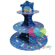 3-tier Cupcake Stand Baby Boy Blue Birthday Party Supplies Kids Baby Shower Favors Cupcakes Decoration Set