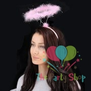 Pink Feather Fluffy Angel Halo Headband Fairy Fancy Dress Halloween Party Hairband for Children and Adults