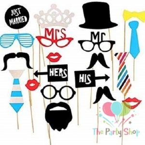 Stylish & Fashionable Photobooth Props Just Married Glasses Selfie Prop Kit For Parties Photo Booth Props 20pcs